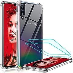 LeYi Funda Samsung Galaxy A50 / A30S / A50S con [2-Unidades Cristal Vidrio Templado],Transparente Shockproof Carcasa Ultra Silicona PC y TPU Slim Gel Bumper Cover Case para Movil A50, Clear