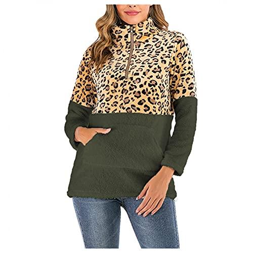 Ylzsx Women's Fashion Hooded Sweatshirt Coat - Winter Warm Long Sleeve Leopard Color Block Cotton Pocket Zipper Shaggy Coat Green