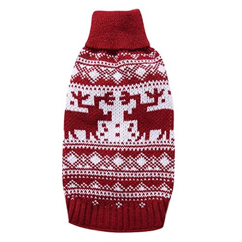 fregthf Perro de Navidad Jersey suéter Lindo Reno Perrito Perrito de Punto...