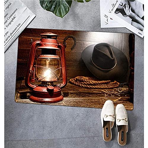 N/A Alfombras de Piso de Bienvenida Lámpara de Linterna de Queroseno Ilumina Engranaje de Vaquero de Rodeo Occidental Americano con Sombrero de Rancho de Cuerda de Lazo y Decoracion hogar 16'x24'