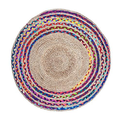 Vidal Regalos Alfombra Redonda Circular Trenzada de Yute Etnica Rustica Multicolor 90 cm