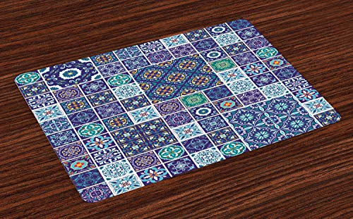 Ambesonne Ethnic Place Mats Set of 4, Traditional Mosaic Azulejo Portuguese Cultural Ceramic Tiles Folk Design, Washable Fabric Placemats for Dining Table, Standard Size, Navy Blue