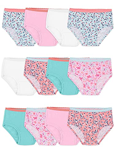 Fruit of the Loom Toddler Girls' Tag-Free Cotton Underwear, Brief-12 Pack-Assorted Colors, 2-3T