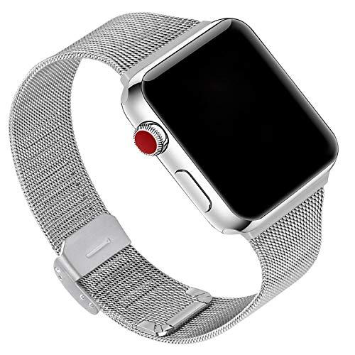 GerbGorb Correa de acero inoxidable para Apple Watch de 38 mm, 40 mm, 42 mm, 44 mm, correa de malla iWatch para Apple Watch Series 5/4/3/2/1, plata, 38mm/40mm