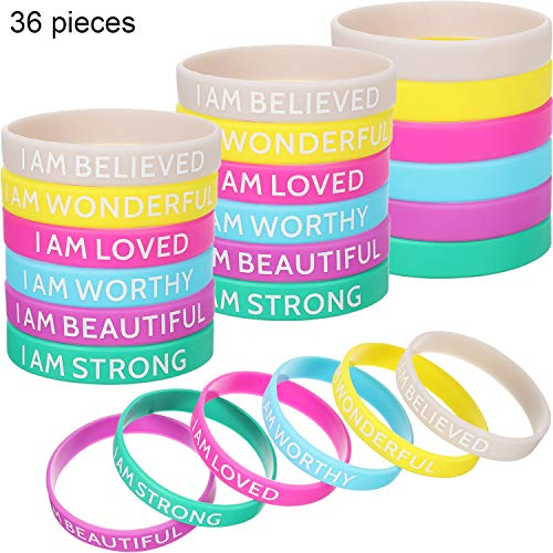 Silicone Inspirational Bands Motivational Bracelets Rubber Inspirational Wristbands with Inspirational Messages for Studying Competing Working (36 Pieces)