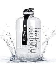 COVACURE 2,2/3,78 liter vattenflaska – sportvattenflaska med tider att dricka, BPA-fri, hållbar, återanvändbar, för gym, träning, vandring, resor, kontor och skola (blå och transparent)