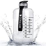 COVACURE Botella deportiva - botella de agua de 2.2 L, botella deportiva grande, sin BPA, a prueba de fugas, para fitness, gimnasio, hogar, oficina, exterior (transparente)