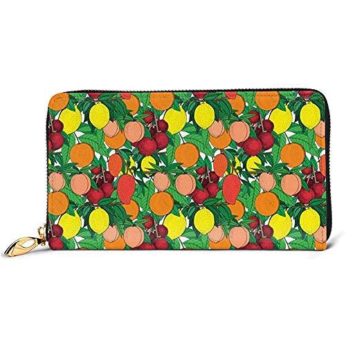 Jacque Dusk Ledergeldbörse Orange Pfirsich Litschi Zitrone Mango Brieftaschen Für Unisex Lange Leder Scheckheft Kartenhalter Geldbörse Reißverschluss Kupplung Damen Geldbörse