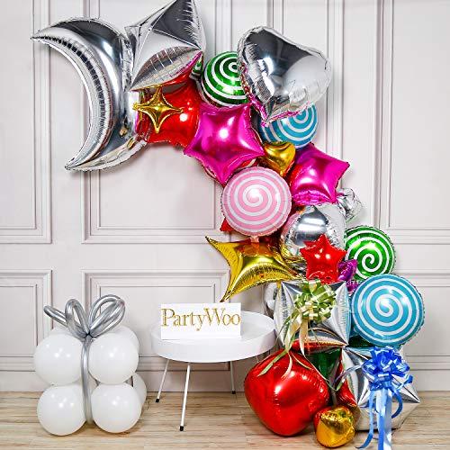 PartyWoo Folienballon, Folienballons Satz von Folienballon Herz, Folienballon Stern, Folienballon Rund, Folienballons Bonbons, 4D Folienballons, Mond Folienballon für Hochzeit, Geburtstag, Baby Shower