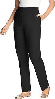 Women's Plus Size Petite Elastic-Waist Straight Leg Chino...