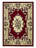 Think Rugs Marrakesh - Alfombra de diseño floral tradicional hecha a máquina, 100% polipropileno, 180 x 270 cm, color rojo