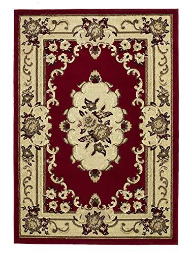 Think Rugs Marrakesch Traditionelles Floral-Design Teppich Maschinell hergestellt 100% Polypropylen Große Bodenmatte 240 cm x 330 cm (Rot)