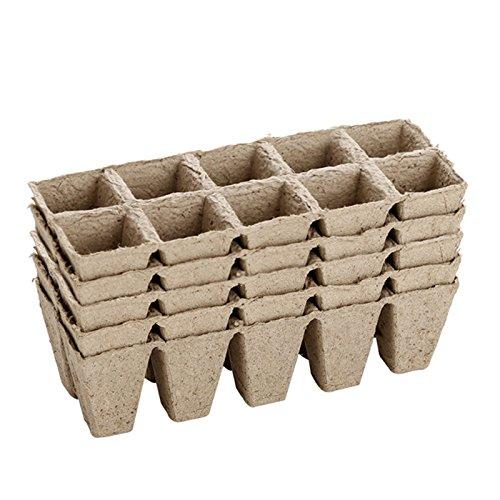 Small Square vassoi vasi in fibra biodegradabili per piantine, confezione da 5 - 50 celle