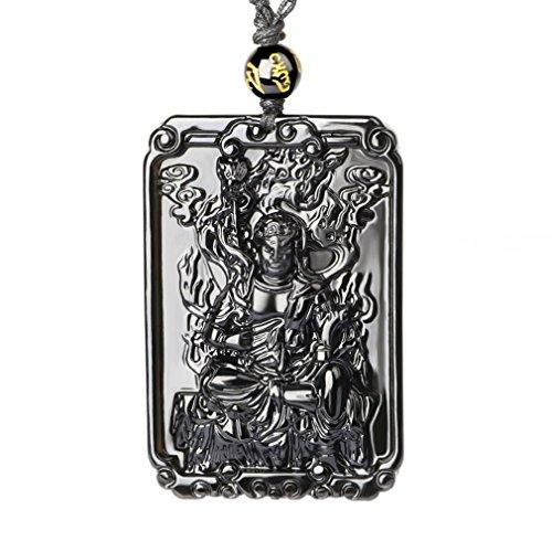 Hand Carved Natural Genuine Obsidian Acala Sanskrit: Immovable Buddha Necklace Amulet Necklace