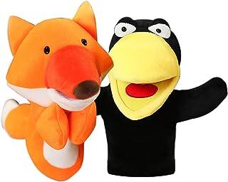 Ensemble de marionnettes à main animaux avec des jouets en peluche à bouche ouverte mobile pour enfants, théâtre de marion...