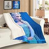 VICWOWONE Manta decorativa Elsa de Frozen de terciopelo de cordero para decoración de habitación de camping turismo tamaño 106 x 127 cm