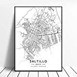 Impresión de la pintura sobre lienzo Saltillo Mexico Black And White City Art Canvas Poster Hd Print Poster Modern Simple Retro Art Latitude Longitude Picture Home Decoration,For Living Room Bedroom,