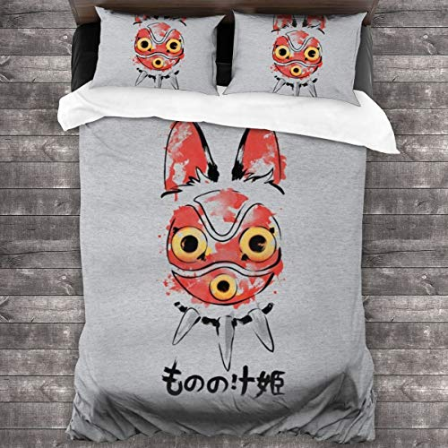 KUKHKU Bettwäsche-Set mit Wolfsmädchen-Maske, Prinzessinnen-Mononoke, 3-teiliges Bettwäsche-Set mit 2 Kissenbezügen