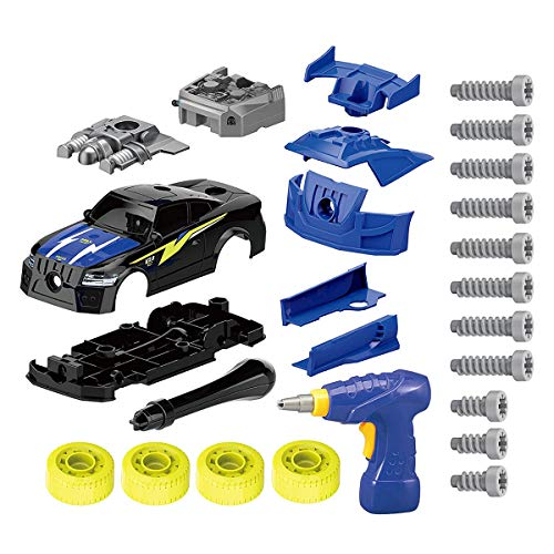 YWL Take Apart Racing Car, STEM Toys 26 Pieces Assembly Car Toys with Drill Tool, Lights and Sounds, for Kids