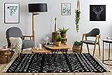 RugsX Alfombra Berber Shaggy esponjosa, Franjas, Bereber Marroquí, para la Sala, Dormitorio, Cuarto de los niños, Ethnic Negro/Blanco 200x290