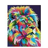 CaiHongPZZPanda Pintar por números para Junior para Adultos Pintado de Color León Animal Paint by Numbers Set DIY Home Decor 40X50Cm-Sin Marco