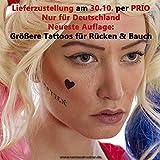 2 x Harley Quinn Tattoo Bogen Set temporär - 44 Aufkleber Körperkunst - Karneval Fasching Halloween Cosplay (2)