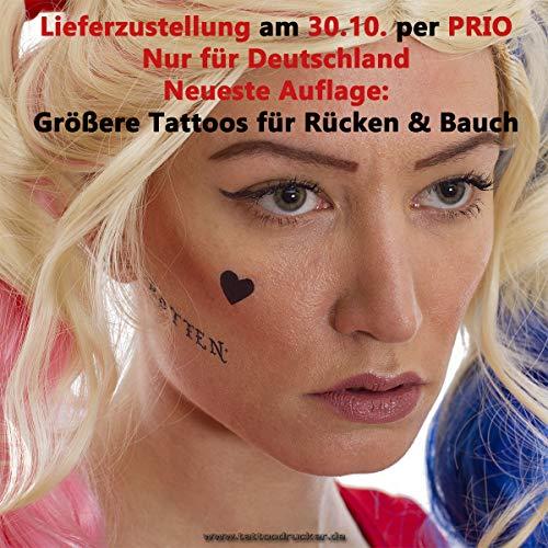1 x Harley Quinn Tattoo Bogen Set temporär - 22 Aufkleber Körperkunst - Karneval Fasching Halloween Cosplay (1)