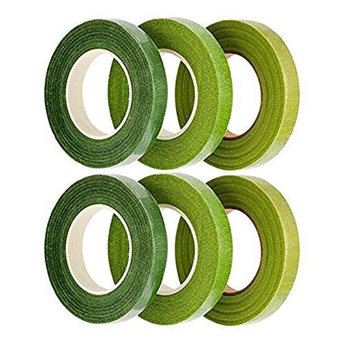 Rmeet Cinta Floral,Verde Cinta de Tallo 6 Pack Floristería Cinta del Tallo Cinta Adhesiva Tape para Flores Artificiales Boda Decoraciones Ramo Artesanía 12MM 30 Yard/Roll