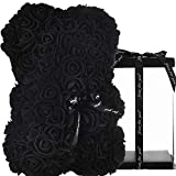 Rose Bear Unique Gifts for Women mom Birthday Gifts for Womens Gifts for her Girlfriend Teen Girls , Luxury Rose Teddy Bear Roses Artificial Rose Flowers Anniversary Christmas Valentines Gift (Black)