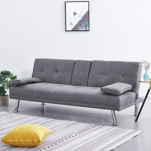 Wellgarden Modern 3 Seater Sofa Bed Line Fabric Sofa Couch Settee Sleeper with Cup Holders and 2 Free Cushions for Living Room, Grey