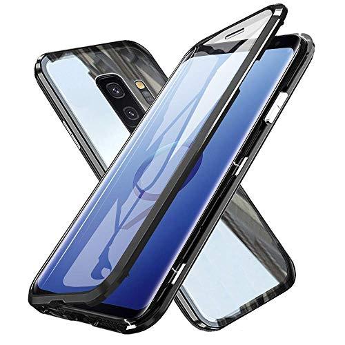 Custodia Magnetico per Samsung S9 Plus,Galaxy S9+ Plus Cover 360 Gradi Full Body Trasparente Vetro Temperato+Alluminio Metal Bumper con Adsorbimento Magnetico Copertura Case per Samsung Galaxy S9 Plus