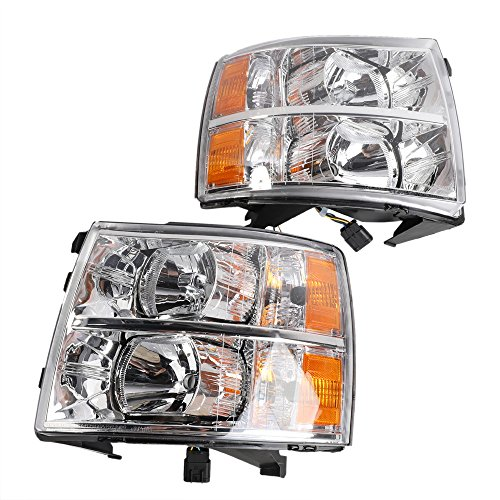 2PC Driver & Passenger Headlights Headlamps Set Replacement fit for Chevrolet 2007 2008 2009 2010 2011 2012 2013 Silverado 1500 / Silverado 3500 & 2007-2014 Silverado 2500 HD/Silverado 3500 HD