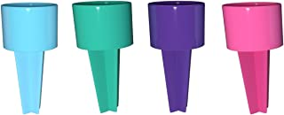 Set of 4 Spiker Plastic Beach Beverage Sand Cup Holders (Blueberry, Teal, Purple, Hot Pink)