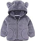 Toddler Baby Fleece Jacket 3D Bear Ears Hooded Coat Winter Thick Warm Cardigan Sweatshirt Outwear for Girls Boys Infant Kids Fall Fuzzy Sherpa Long Sleeve Thicken Windproof Hoodie Snowsuit Grey 5-6X