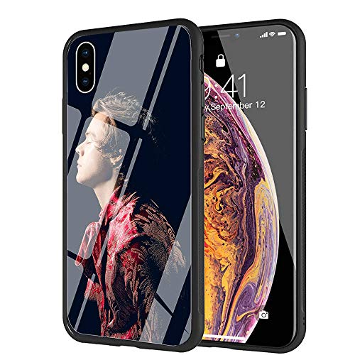 YZSGP AA-217 Harry Styles Phone Case for iPhone XR, Tempered Glass Back Cover with 360 Degree Full Strong Protection