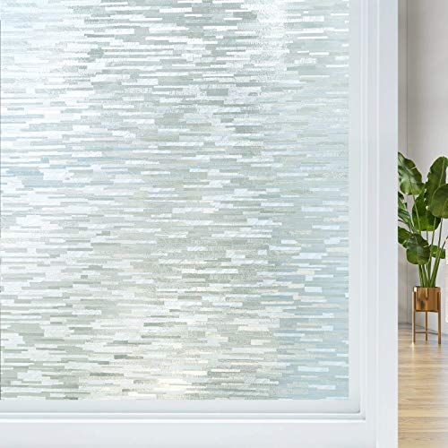 Haton Frosted Privacy Window Film Non Adhesive UV Blocking Removable Glass...
