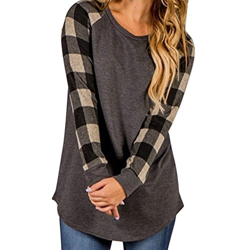Ankola Tops, Women O-Neck Plaid Long Sleeve Shirts Patchwork Sweater Sweatshirt Pullover (XL, Gray 1)