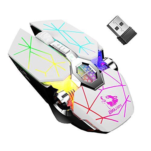 Ratón inalámbrico para videojuegos, con nano USB 2.4 G, 7 colores, retroiluminado, recargable, ratones para juegos de computadora, 6 botones, 2400 ppp, 3 niveles de ajuste para PC, portátil, Windows 7/8/10/XP/Vista/MAC/Linux Plug & Play (blanco)