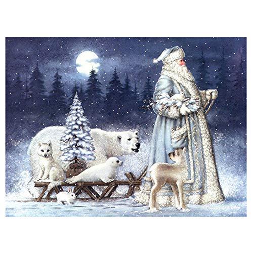 Cuadro de diamante con patrón de Santa cuadrado completo, decoración navideña para la familia, retrato de bordado de mosaico de diamantes completo-30x40cm