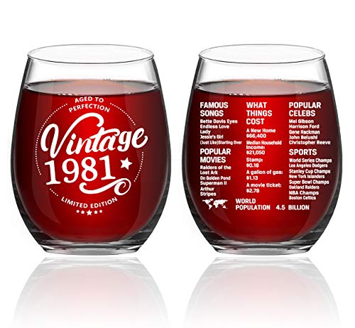 Greatingreat 1981 Old Time Information 40th Birthday Gifts for Women Men - 1981 Vintage 15 oz Stemless Wine Glass - 40 Year Old Birthday Party Decorations - Forty Class Reunion Ideas