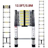 Telescopic Ladder 3.8M Multi-Purpose Folding Aluminium Telescoping Ladder Extendable Portable Loft Ladder Foldable Ladder with EN131 and CE Standard (12.5FT/3.8M)