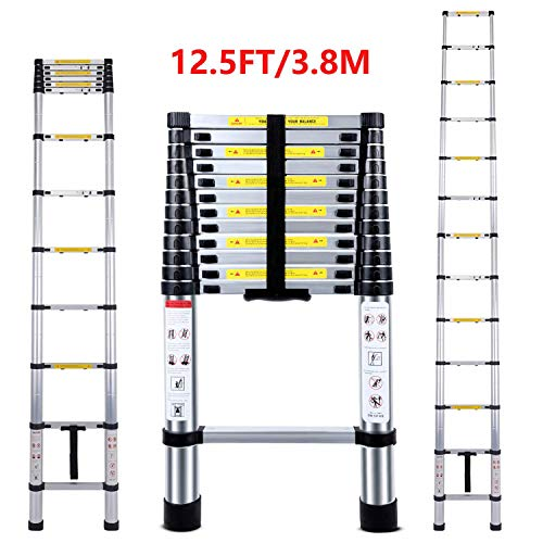 Jason Teleskop-Leiter, hohe Qualität, maximale Tragkraft, 150 kg, ausziehbare Leiter mit EN131 und CE-Standard [Stufe A +++]
