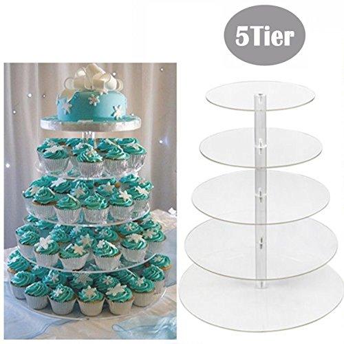 mymotto Tortenständer Runde Kuchen Hochzeitstorte Runde Kuchenständer Kuchen Gestell Hochzeitstorte Geburtstag Feier Party 3/5/6/7stöckig Kuchen Ständer (5 Etage)