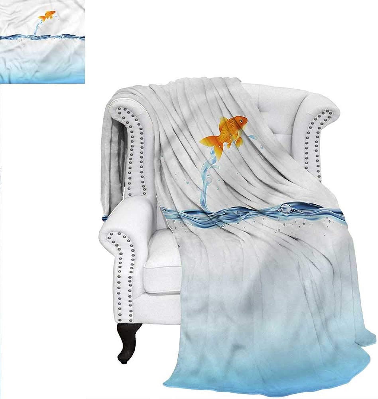 RenteriaDecor Aquarium Blanket Little goldfish Leaping Print Image Blanket 60 x36