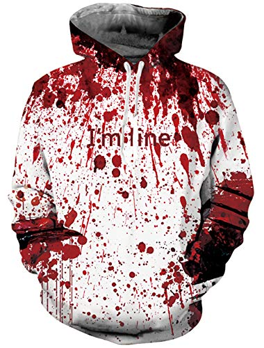 Men and Women Novelty Fleece Hoodies Halloween Blood Stains Pullover Hoodies I'm Fine Letter Cool Athletic Sweaters Hooded Sweatshirt White Red