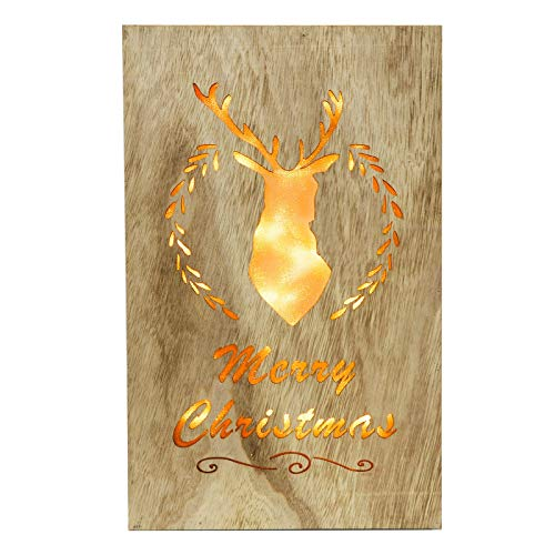 Mr Crimbo 3D Wooden Box Xmas Decoration With Cut Out Light Up Stag's Head Glitter PVC Reflector Hanging Wall Plaque Christmas Festive