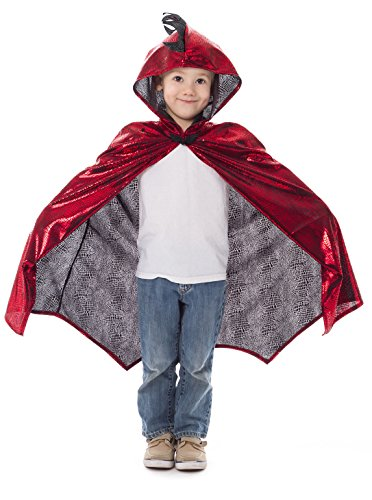 Little Adventures Deluxe Childrens Dragon Cloak Cape Age 3-8 (Red)