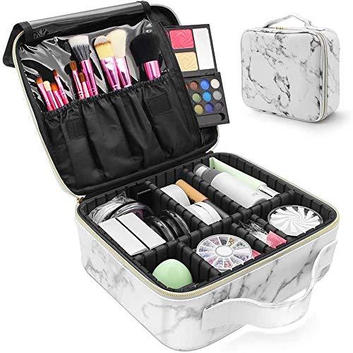 Mingstong Sac cosmétique-Marble Travel Makeup Case Beauty Toiletry Waterproof Storage Bag Organisateurs cosmétiques avec réglable, A