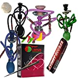 2 Hose Hookah Neon -12' Height, Cute Shape only Assorted 1 Hookah 25 foil Paper - Assorted 1 Flavor, Charcoal roll, 5 Mouth Tips, Tong. Don't Contact US to Change Color (2 Hose, Mix Color and style1)