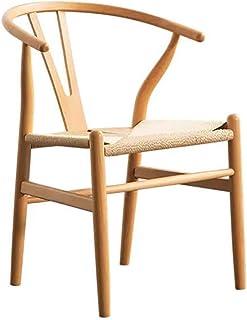 Shisyan Silla de comedor de madera maciza Silla de comedor Silla de comedor Silla nórdica Y Silla cuerda trenzada silla sillas Silla de ordenador de cocina (color: color de la madera, tamaño: 45cm x 4